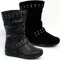 GIRLS SCHOOL BOOTS MID CALF FORMAL CASUAL ANKLE BIKER RIDING FASHION SHOES SIZE