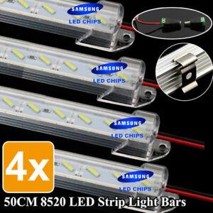 4x 50CM 12V 8520 LED Strip Light Bar Dimmable Caravan 4WD Camping Boat Fishing