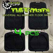 NEW 4 PCS RUGGED TUFF FLOOR MATS SUV ALL WEATHER WATER PROOF TRIM FIT UNIVERSAL