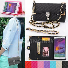 Bling Crystals Flower / PU Leather Handbag Wallet Cases For Samsung and iPhone