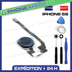 BOUTON HOME COMPLET AVEC NAPPE POUR IPHONE 5S NOIR + KIT OUTILS