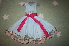 NWT LITTLE JOULES BLUE FARM PRINT SASH CONSTANCE sash DRESS 128 8
