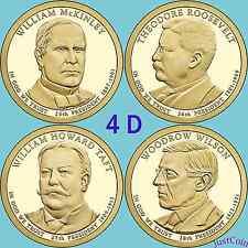 2013-D McKINLEY ROOSEVELT TAFT WILSON PRESIDENTIAL GOLDEN DOLLARS FOUR PCS SET