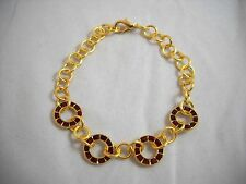 "SWAROVSKI Elements Siam Red Rings & Gold Filled Bracelet 7.5"" NWOT"