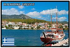 HALKIDIKI, GREECE - SOUVENIR NOVELTY FRIDGE MAGNET - SIGHTS / FLAG / GIFTS