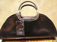 Bnwt Neu Erzgebirge 10 italienische Leder Handtasche Satchel Bowler Purse Schwarz Made in Italy