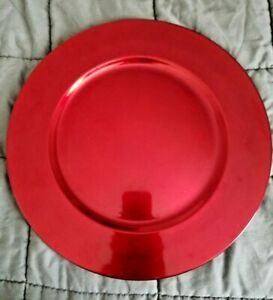 """Colormate Red/Crimson Large Round Plastic Decorative Charger Plate Platter 13"""""""