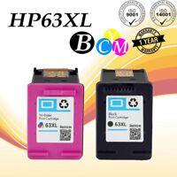 2pk 63XL Color/Black Ink For HP Deskjet 1110 1112 2130 2133 3630 3632 3634 3636