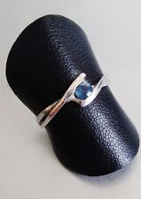 B BAGUE SOLITAIRE FEMME OR BLANC 18 CARATS SAPPHIRE ENGAGEMENT WHITE GOLD RING