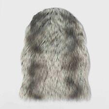"""Sheepskin Faux Fur Pelt Rug Blanket Gray White 39""""x30"""" Threshold Target New"""