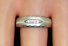Nice Men's 14K White Gold Multi Textured .12 Ct Diamond Band Size 10 1/4