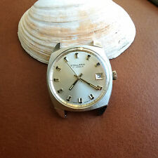 Vintage NOS Stellaris Dress Watch w/Mint Silver Satin Dial,Divers All SS Case