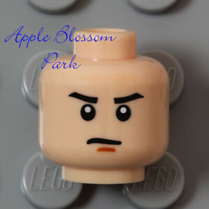 NEW Lego Light FLESH MINIFIG HEAD -Male Boy/Girl Man Scowl Grin w/Black Eyebrows
