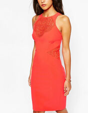 NEW Karen Millen Crochet Tribal Lace Pencil Dress Orange Size 16 EU 44 US 12
