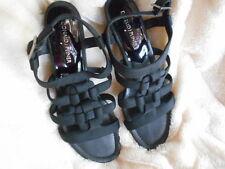 Women's Donald J. Pliner Wedge Size 8.5 (B,M) Dress Solid Black Patent & Fabric
