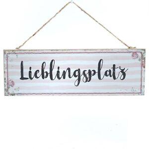Schild 'Lieblingsplatz', MDF, rosé-weiß, mit Juteband, ca. 30 x 10 cm