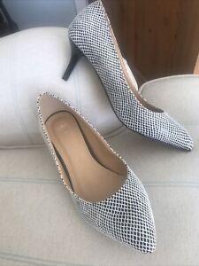 Size 5 Court Shoes . Black / White Checked . Tu . New No Box