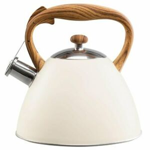 Whistling Kettle 3 L Stainless Steel White Induction  Stove top Gas Cream Beige