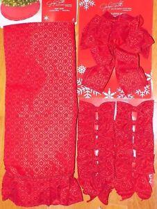 """NEW - 52"""" Red Snowflake Velvet Christmas Tree Skirt Topper Bows NWT - FREE SHIP"""