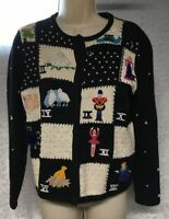 Vintage STUDIO FA LA LA Black Embellished Embroidered Ugly Christmas Sweater S