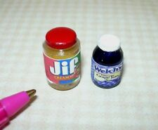 Miniature Brand Peanut Butter/Grape Jam: Dollhouse Miniatures 1:12 Scale
