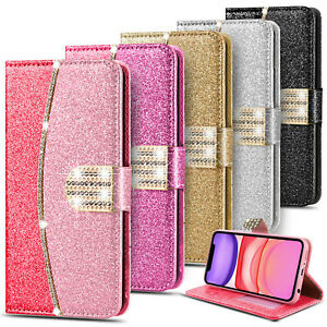 Glitter Diamond Leather Flip Wallet Case Cover For iPhone 12 11 XR 7 8 SE XS 6S