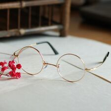 Small Gold Round titanium Eyeglasses loop glasses mens womens RX eyewear 44mm