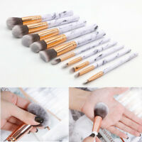 10pcs Marble Kabuki Makeup Brushes Set Blusher Face Powder Foundation Eyeshadow