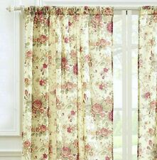 ANTIQUE ROSE 84 x 84 WINDOW PANELS : CREAM YELLOW SHABBY VINTAGE CURTAIN DRAPES