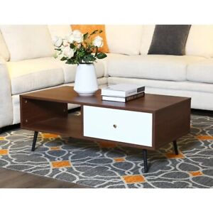 George Oliver Merissa Coffee Table with Storage Walnut Finish Mid Century Modern