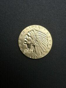Gold Münze 1908 E Pluribus Unum, United States of America, Indian Head, U.S. 5$