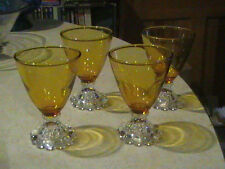 4 Anchor Hocking Glass Boopie Yellow Amber Footed Juice Tumblers 4 oz