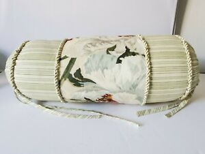 Waverly WILLIAMSBURG MAGNOLIA Floral & Green striped -  Neck Bolster Pillow