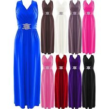 Womens Buckle Maxi Long Dress Ladies Evening Prom Cocktail Party Dresses