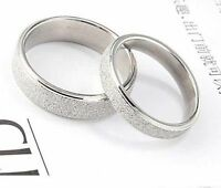 Classic 3.5mm silver coloured frosted band ring multiple sizes