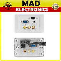 Pro 2 HDMI VGA COMPOSITE AV PC VIDEO AUDIO WALL PLATE 3.5mm Stereo Socket