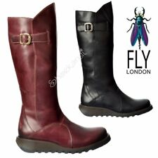 Womens Fly London MOL 2 Knee High Low Heel Full Leather Biker Winter Boots Size