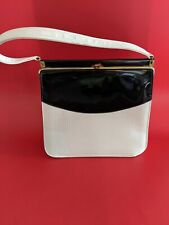 "Vintage 1950's Black and White Patent Handbag Purse ""Kelly "" Bag"