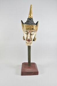 h18b69- Buddha Götterbüste/ Gottheit, Südostasien, Holz geschnitzt/ gefasst