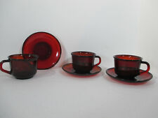 Ruby Red Glass Cups Saucers Arcoroc France Vintage Tea Coffee 3 Sets 6 Pieces