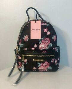 NEW Juicy Couture Black Backpack Floral Pink Roses Multi Storage Small Purse NWT