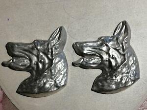 2 x Schäferhund Silhouette Büste - aus Aluminium