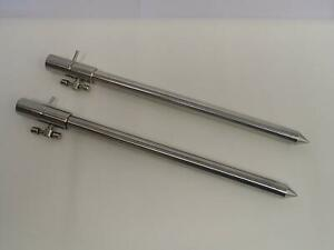 2 x Stainless Steel Bank sticks 30-50 cm. Carp, Coarse, Fishing, arrow points