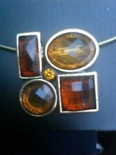 Brown Amber look bronze/gold tone pendant Necklace Lovely item Gift wedding