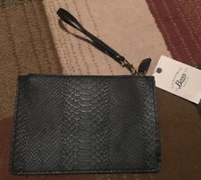 Bass Snakeskin Leather Wristlet Bag Nwt Black Unisex