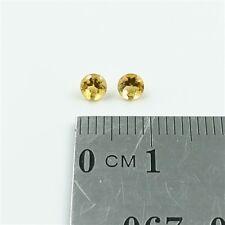 NATURAL CITRINES x2 – 3.5mm Round Cut Brilliant Citrine Loose Gemstones – Fre...