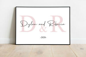 Personalised Name & Initial Prints   Couples Bedroom Wall Art Decor