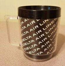 Vtg Delta Airlines Logo Coffee Mug Cup Eagle U.S.A Black Plastic Airplane Travel