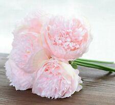 Artificial Flower 5 Head Peony Bouquet Silk Bridal Bouquet Fall Vivid Fake Decor