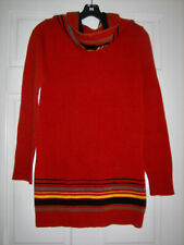 KENZO VINTAGE RED LAMBSWOOL TUNIC SWEATER with HOOD